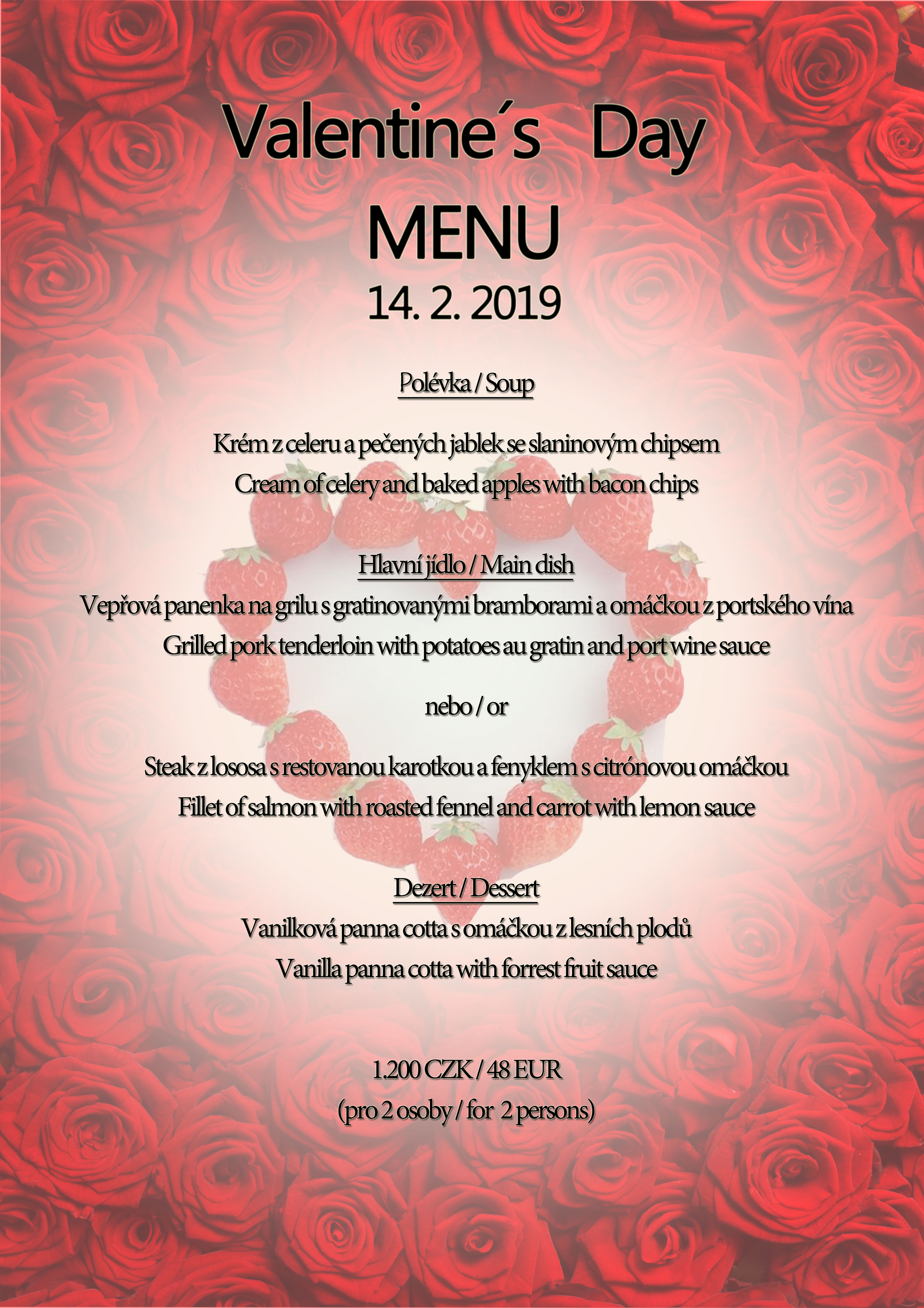 Valentine´s Menu at Boutique hotel Seven Days