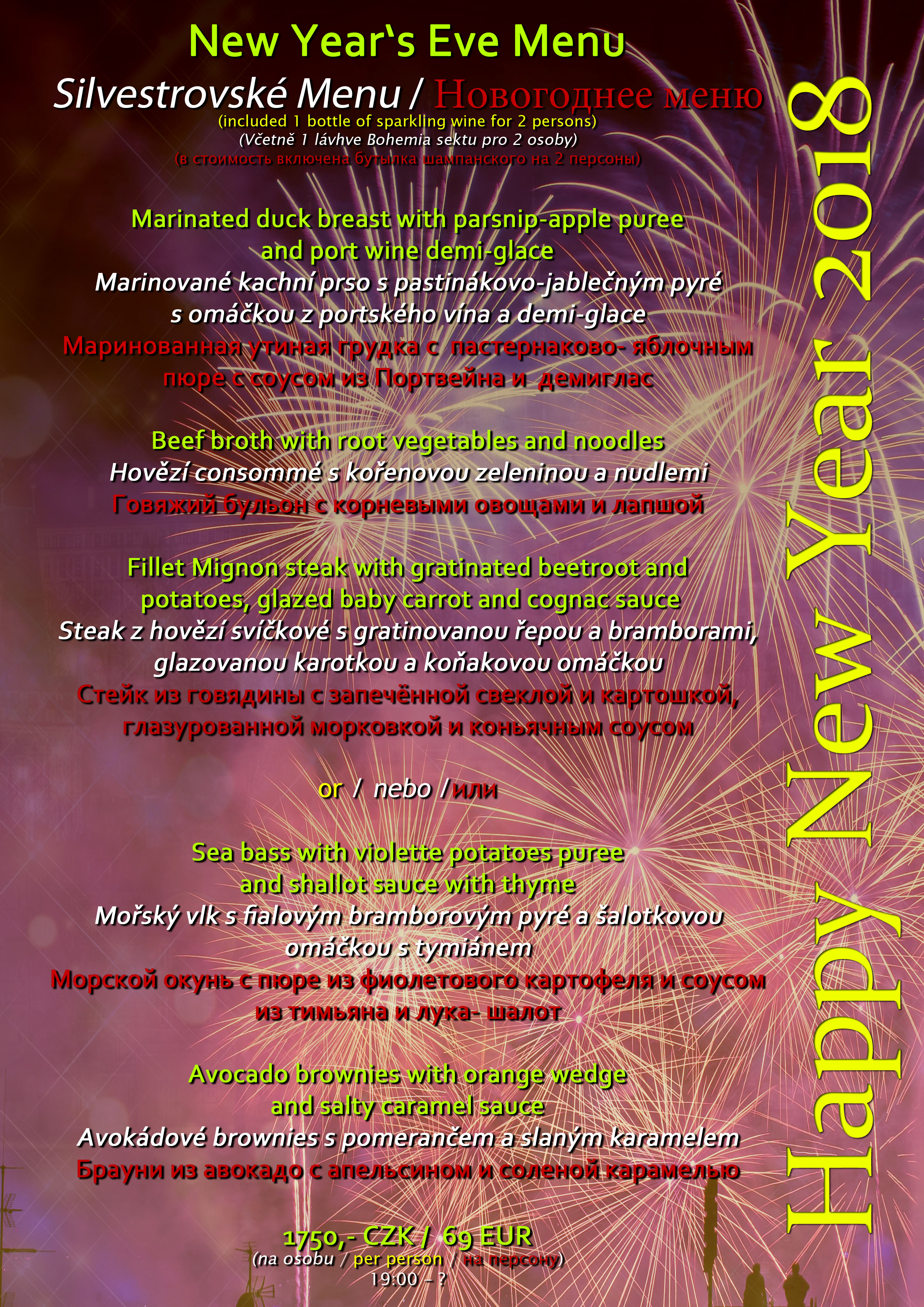 New Year´s Eve Dinner at Boutique hotel Seven Days